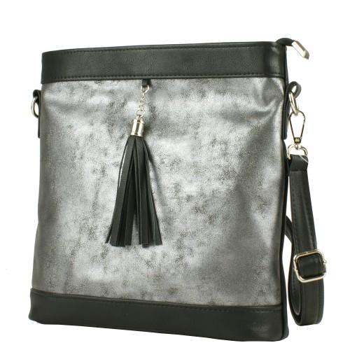 LD046 czarno-grafitowa torebka listonoszka producenta torebek damskich Dawidex dostępna w hurtowni interneowej