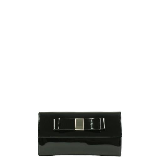 WL010 czarna lakierowana kopertówka producenta torebek damskich Dawidex