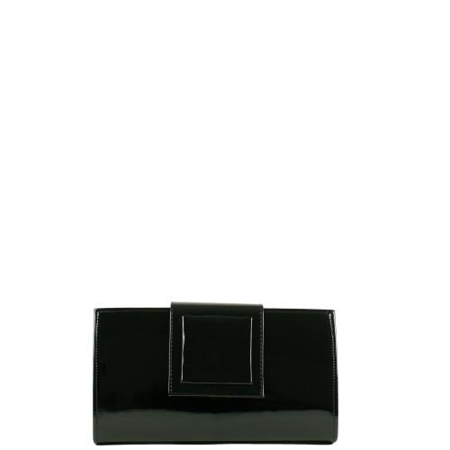 WL008 czarna lakierowana kopertówka producenta torebek damskich Dawidex