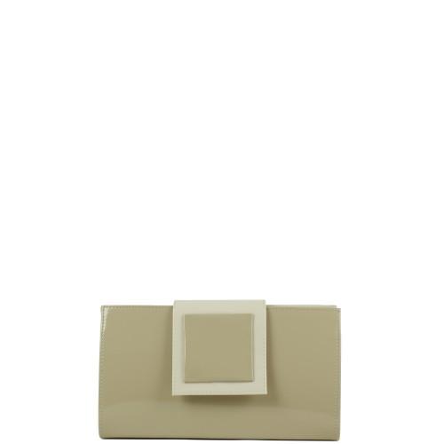 WL008 lakierowana kopertówka w kolorze capuccino producenta torebek damskich Dawidex